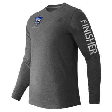 New Balance United NYC Half Finisher LS Tee, Black Heather
