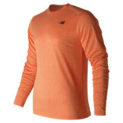 NB Long Sleeve Heather Tech Tee, Alpha Orange Heather