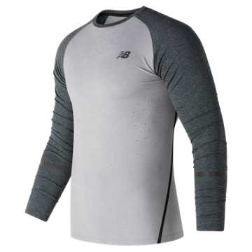 New Balance Trinamic Long Sleeve Top, Athletic Grey with Heather Charcoal