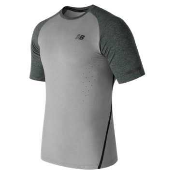 New Balance Trinamic Short Sleeve Top, Athletic Grey with Heather Charcoal