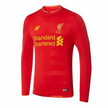 New Balance LFC Mens Firmino Home No Patch LS Jersey, High Risk Red