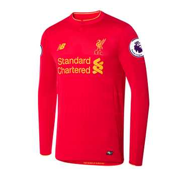 New Balance LFC Mens Henderson Home EPL Patch LS Jersey, High Risk Red