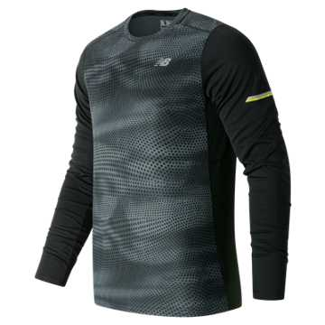 New Balance NB Ice Long Sleeve, Black Multi with Thunder
