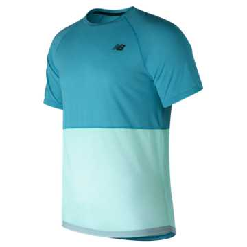 New Balance CBK Breathe Short Sleeve, Deep Ozone Blue Heather with Ozone Blue Glow