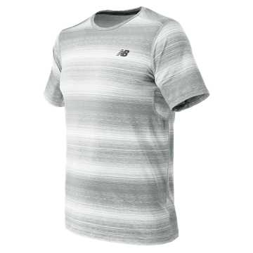 New Balance Kairosport Tee, Silver Mink Heather with White