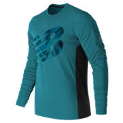 New Balance Accelerate Graphic Long Sleeve, Deep Ozone Blue with Black