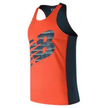 New Balance Accelerate Graphic Singlet, Alpha Orange with Supercell