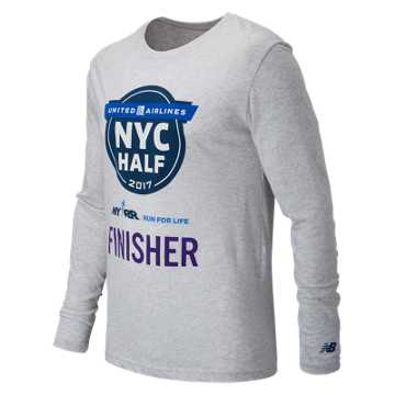New Balance United NYC Half Finisher LS Tee, Light Grey Heather