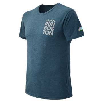 New Balance Run Boston Pocket Square Graphic Tee, Heather Navy