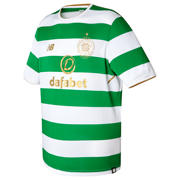 New Balance Celtic Mens Home SS Jersey, White with Green