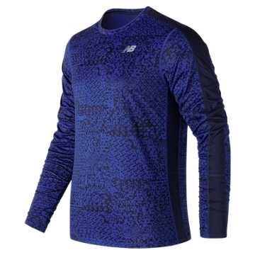 New Balance Accelerate Graphic Long Sleeve, Team Royal with Shattered Print