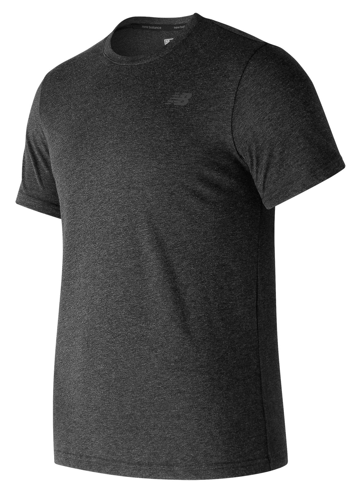 NB Heather Tech Short Sleeve, Black with Heather Charcoal