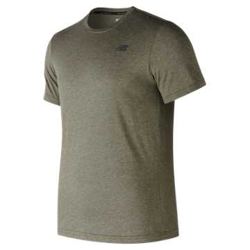 New Balance Heather Tech Short Sleeve, Military Foliage Green