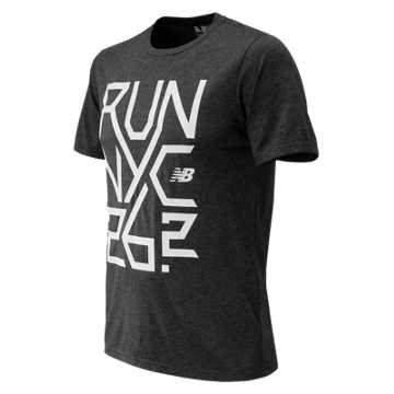 New Balance NYC Marathon Heather Tech Short Sleeve, Heather Charcoal