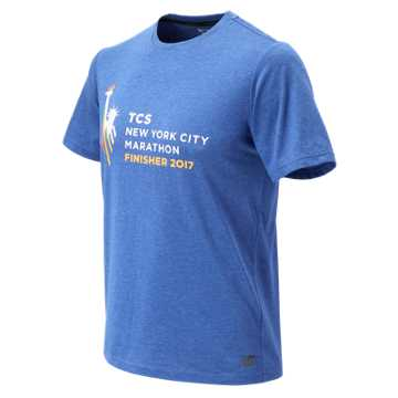 New Balance NYC Marathon Finisher Heather Tech Short Sleeve, Team Royal Heather