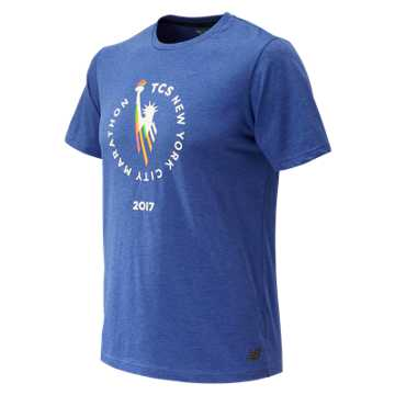 New Balance NYC Marathon Heather Tech Short Sleeve, Team Royal