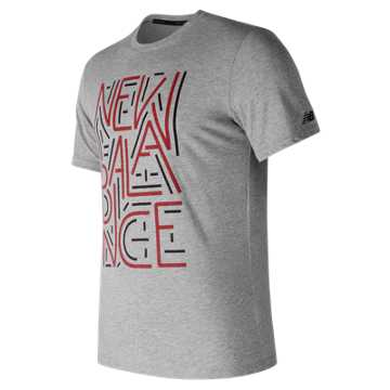 New Balance Heather Tech NB Graphic Short Sleeve, Athletic Grey with Red