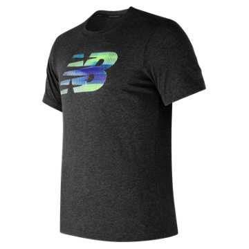 New Balance Heather Tech NB Graphic Short Sleeve, Black Heather