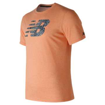 New Balance Heather Tech NB Graphic Short Sleeve, Dynamite
