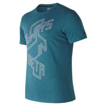 New Balance Heather Tech Brand Graphic Short Sleeve, Moroccan Blue