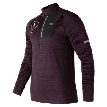 New Balance NYC Marathon NB Heat Half Zip, Black Rose Heather