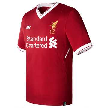 New Balance LFC Mens Firmino Home SS EPL Patch Jersey, Red Pepper