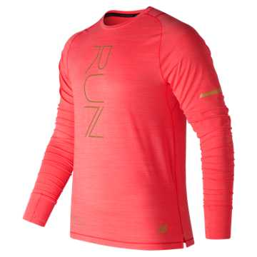New Balance NYC Marathon Seasonless Long Sleeve, Energy Red Heather