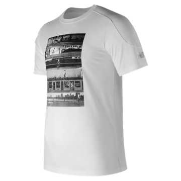 New Balance NB Athletics Stripe Tee, White with Grey