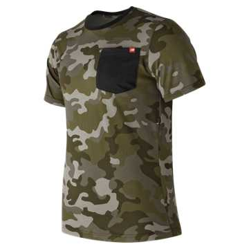 New Balance Essential Pocket Tee, Camo Green