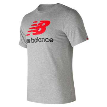 New Balance Essentials Stacked Logo Tee, Athletic Grey