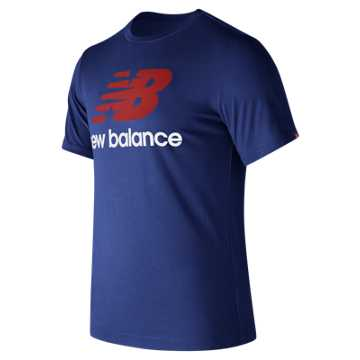New Balance Essentials Stacked Logo Tee, Atlantic