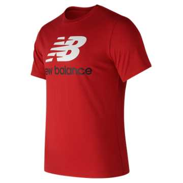 New Balance Essentials Stacked Logo Tee, Red Pepper