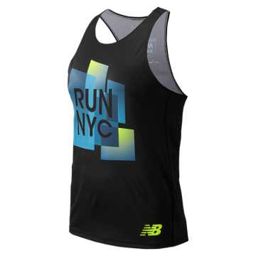 New Balance United Airlines NYC Half Singlet, Black Multi