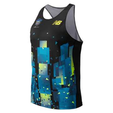 New Balance United Airlines NYC Half Singlet, Blue with Green