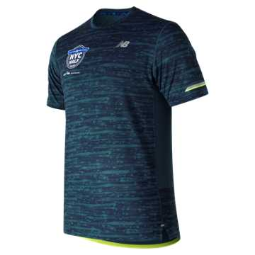 New Balance United Airlines NYC Half NB Ice 2.0 Printed Short Sleeve, North Sea