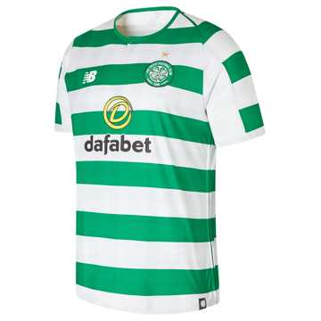 New Balance Celtic FC Home Short Sleeve Jersey, White with Celtic Green