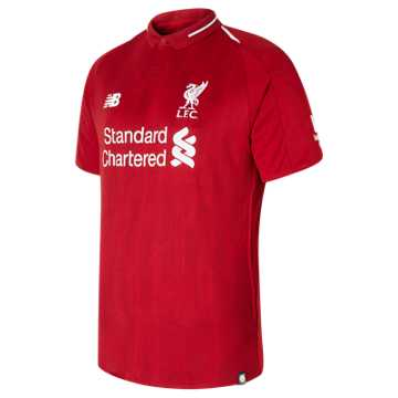 New Balance LFC Mens Virgil Home Short Sleeve EPL Patch Jersey, Red Pepper