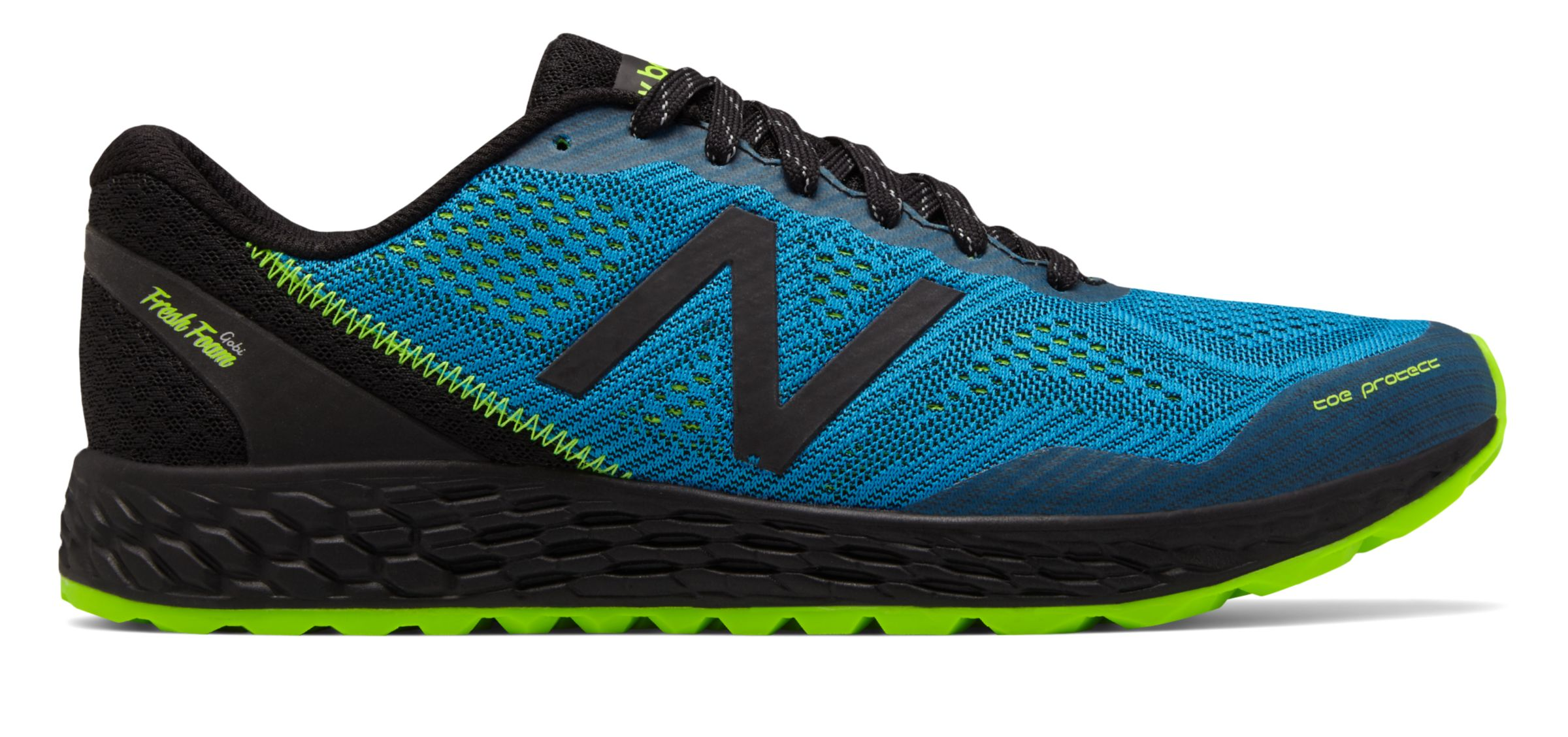 NB Fresh Foam Gobi Trail v2, Black with Bolt & Energy Lime