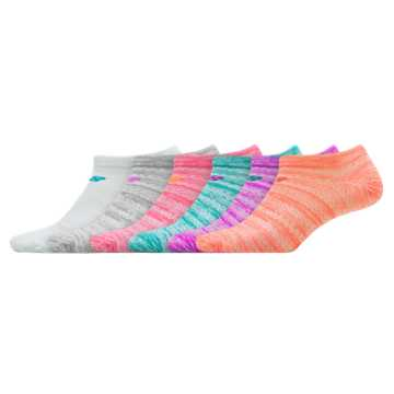New Balance Lifestyle No Show 6 pack, Aquamarine with Pink & Orange Clownfish