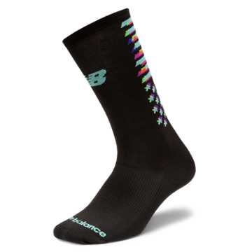 New Balance Boston Crew Sock, Black with Ozone Blue