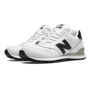 New Balance 574 Leather, White with Black