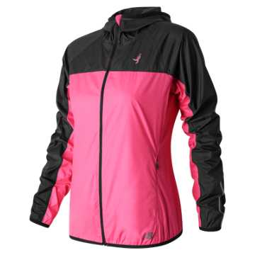 New Balance Pink Ribbon Windcheater Jacket, Alpha Pink with Black