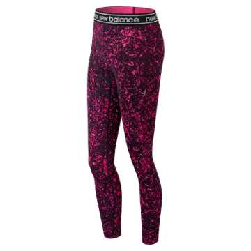 New Balance Pink Ribbon Printed Accelerate Tight, Pink Glo with Black