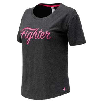 New Balance Pink Ribbon Heather Tech Graphic Tee, Black Heather
