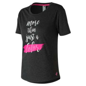 New Balance Pink Ribbon Heather Tech Graphic Tee, Black with Pink Glo