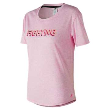 New Balance Pink Ribbon Heather Tech Graphic Tee, Pink Glo