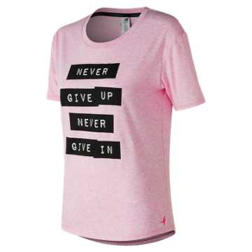 New Balance Pink Ribbon Heather Tech Graphic Tee, Pink Heather