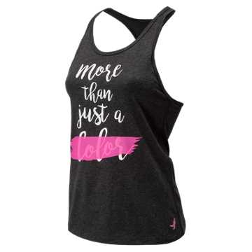 New Balance Pink Ribbon Graphic Heather Tech Racerback, Black with Pink Glo