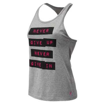 New Balance Pink Ribbon Graphic Heather Tech Racerback, Heather Charcoal