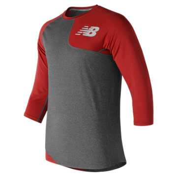 New Balance Baseball Asym Base Layer Left, Team Red with Heather Grey